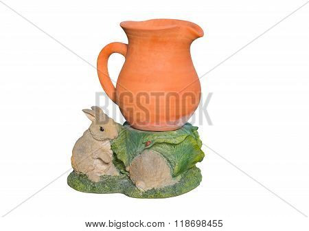 Earthenware vase with rabbit plaster