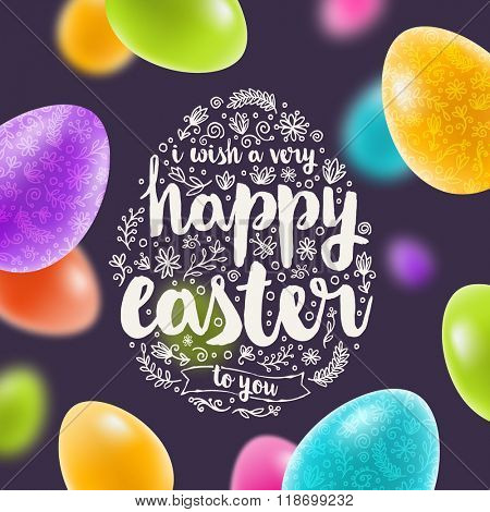 Vector illustration - Easter multicolored greeting card with hand drawn element and lettering