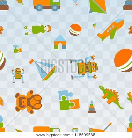 Flat vector illustration seamless pattern toys on the transparent background