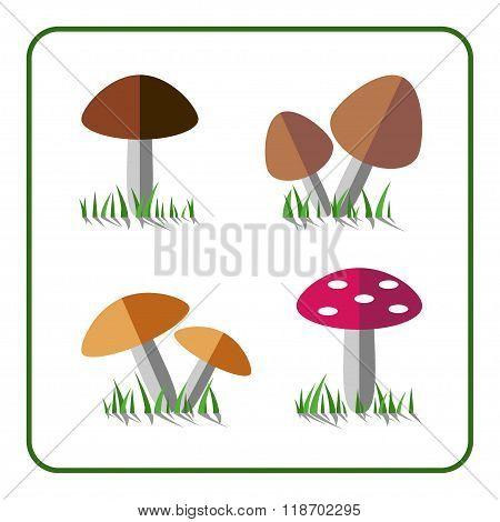 Mushroom Icons Set 1