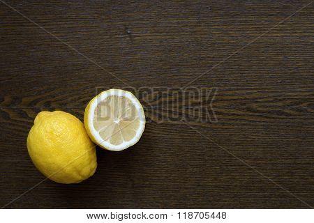 Lemons On A Wooden Table