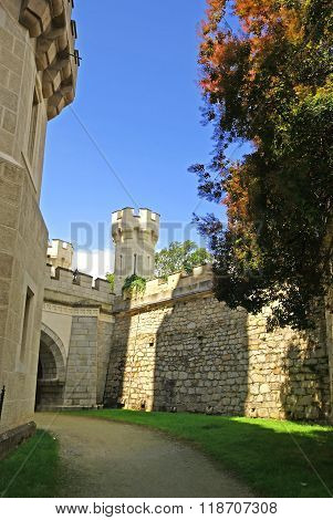 White Castle romantic tower Hluboka Czech Republic
