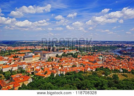 Aerial view of Prague Castle from the Petrin lookout tower on Petrin Hill Prague Czech Republic ** Note: Visible grain at 100%, best at smaller sizes