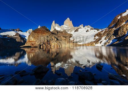 At the lagoon, Fitz Roy , Patagonia, Argentina