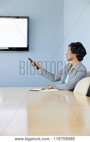 Woman using video conferencing