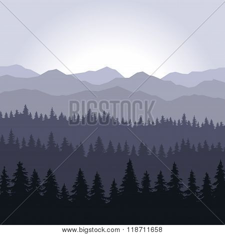 Blue Fog Coniferous Forest and Mountains Background. Vector