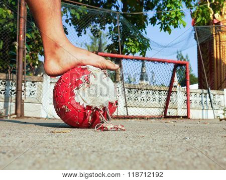 Real street soccer without shoes