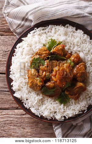 Indian Madras Beef With Basmati Rice Closeup. Vertical Top View