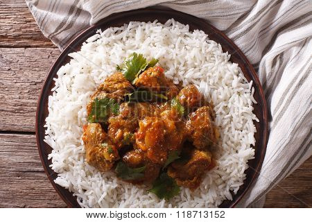 Indian Madras Beef With Basmati Rice Closeup. Horizontal Top View