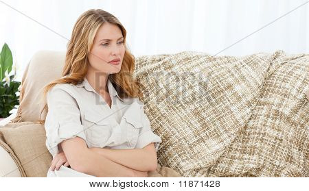 Pretty Woman On Her Sofa