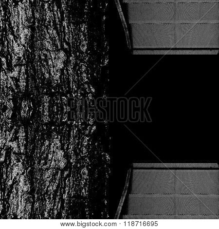 Background Design From Bark Tree And Escalators Stairway, Black And White Style