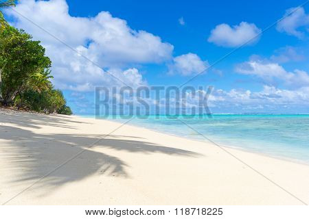 White Beach On Desert Island In Rarotonga, Cook Islands