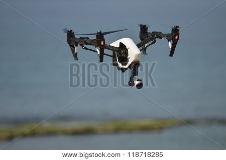 Drone Flying Over The Sea