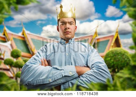 Serious man with crown