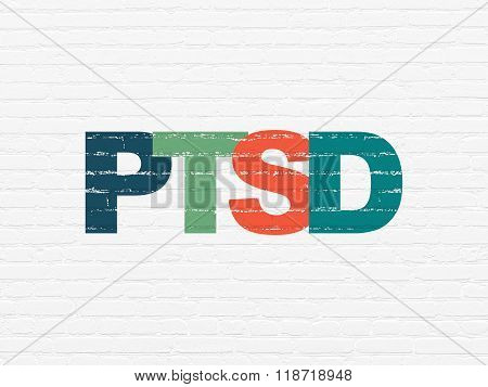 Medicine concept: PTSD on wall background