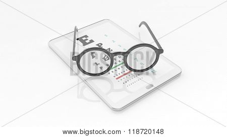 Eyeglasses set on tablet with eyesight test on screen, isolated on white background.