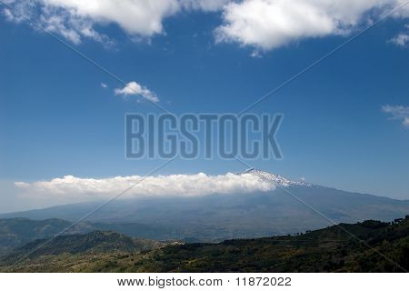 Beautiful Valley Of The Sicilian Hinterland Under The Majestic Volcano Etna