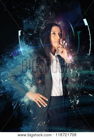 Three Quarter Length Portrait of Thoughtful Business Woman in Suit Standing with Hand on Chin in front of Black Background with Graphic Scratched Overlay