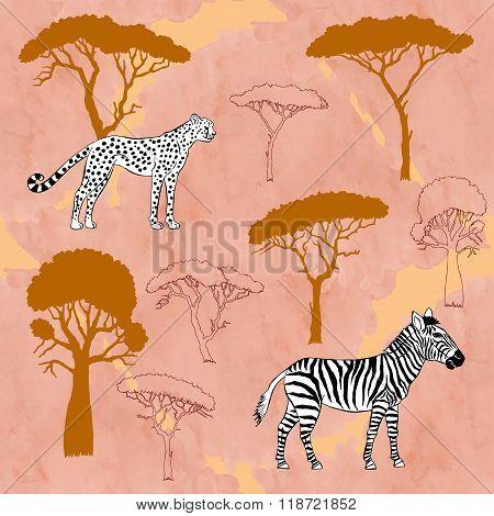 Cheetah, zebra and savanna trees