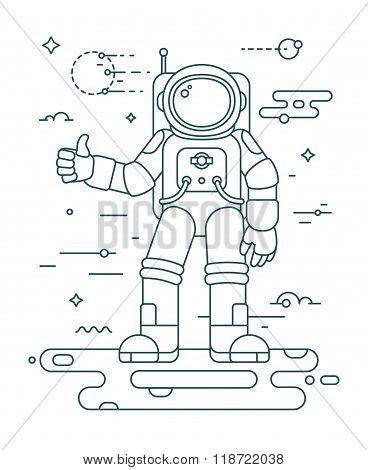 Astronaut landing on the planet thin outline vector illustration. Astronaut in outer space concept