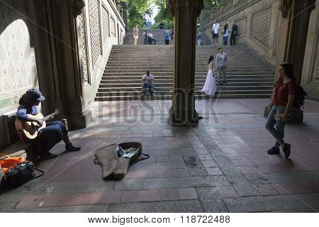 Black Girl Sings And Plays Guitar Under Bethesda Arcade In New York City Central Park