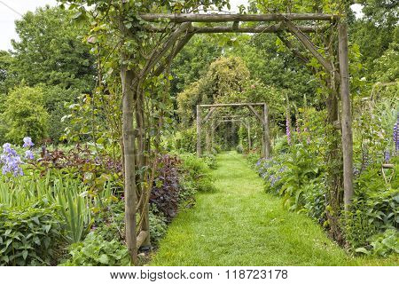 flower arch with grass path in a cottage garden