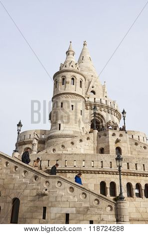BUDAPEST, HUNGARY - FEBRUARY 02: Tourists climbing staircase at one of the spires in the Fisherman's Bastion complex, in the Old Town district. February 02, 2016 in Budapest.