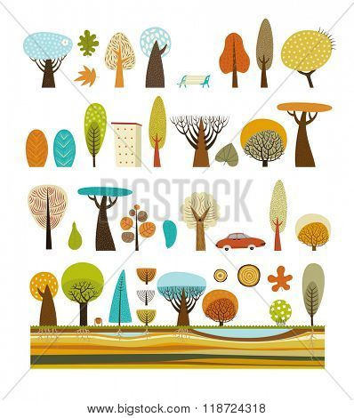 The vector illustration of flat park elements - various trees, building, car, garbage can and soil cut layers.