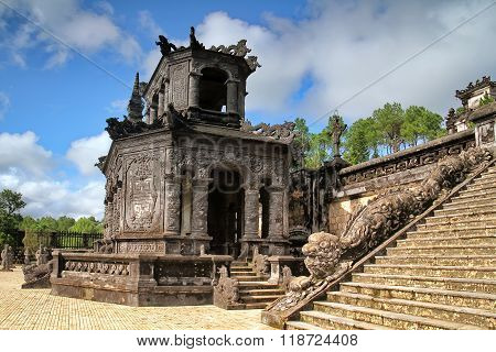 Tomb of Emperor Khai Dinh last of the Nguyen dynasty near Hue, Vietnam