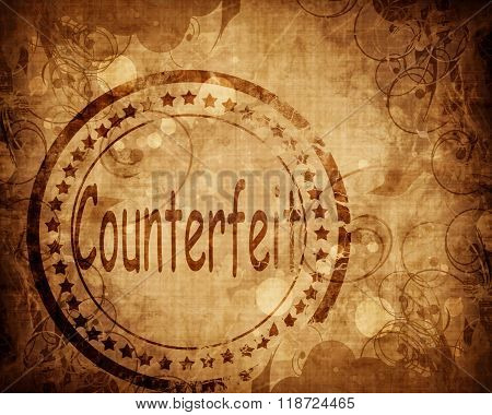 Counterfeit stamp on grunge background