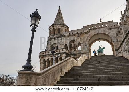 BUDAPEST, HUNGARY - FEBRUARY 02: Low angle shot of stairs leading to bronze statue of Saint Stephen, in Fisherman's Bastion, at the Old Town district. February 02, 2016 in Budapest.