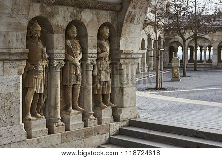BUDAPEST, HUNGARY - FEBRUARY 02: Stone soldiers in one of the arches at Fisherman's Bastion, in the Old Town district. February 02, 2016 in Budapest.