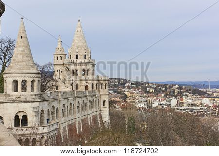 BUDAPEST, HUNGARY - FEBRUARY 02: Fisherman's Bastion spires at the Old Town district, with cityscape in the background. February 02, 2016 in Budapest.