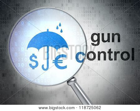 Security concept: Money And Umbrella and Gun Control with optical glass