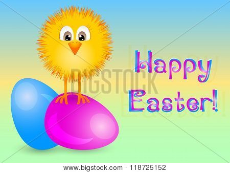 Holiday Card For Easter With Painted Eggs And Little Yellow Chicken