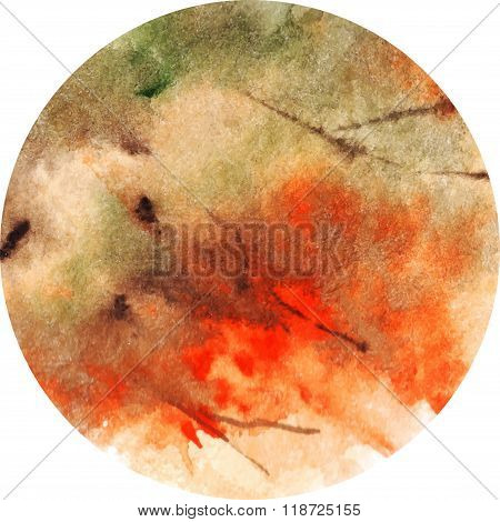 Watercolor Foliage Autumn Fire Vector Background Circle