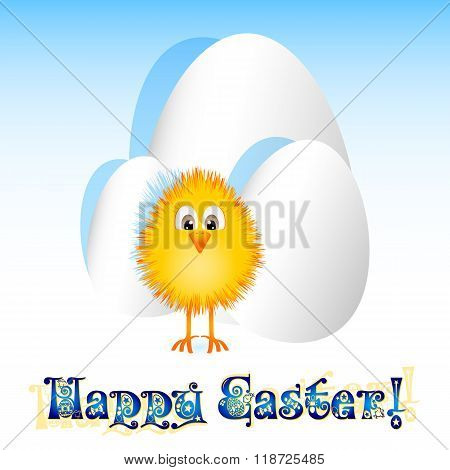 Holiday Card For Easter With Paper Eggs And Little Yellow Chicken
