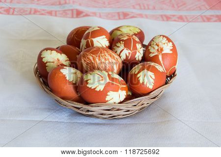 Easter Eggs In Wickerwork Plate