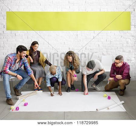 Diverse People Team Working Project Floor Concept