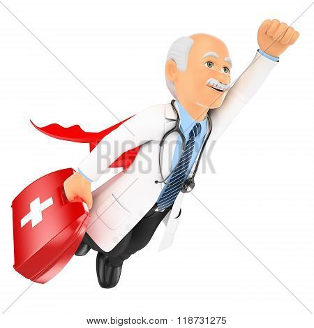 3D Super Doctor Flying With First Aid Kit