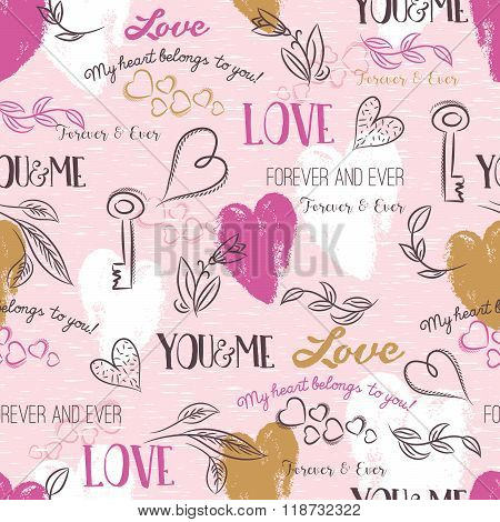 Pink Background With  Valentine Heart , Flower, Text,  Vector
