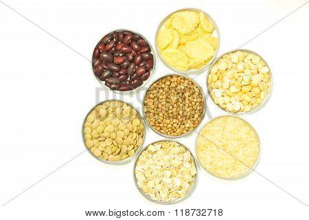 Cereals On A White Background: Buckwheat, Oatmeal, Cereal, Rice, Beans, Peas