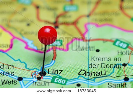 Linz pinned on a map of Austria