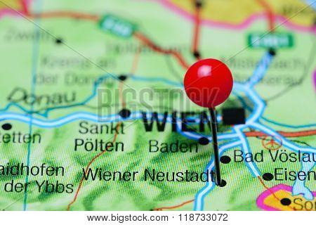 Wiener Neustadt pinned on a map of Austria
