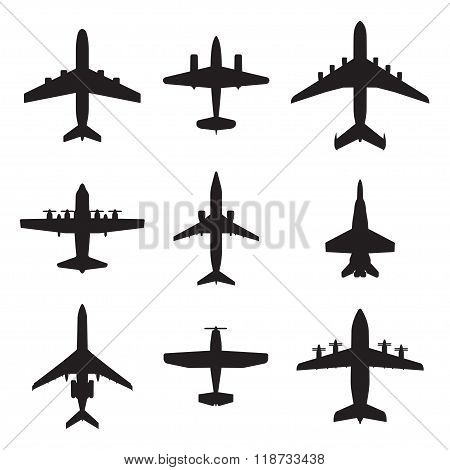 Airplane icons set. Vector silhouettes of passenger aircraft, fighter plane and screw.