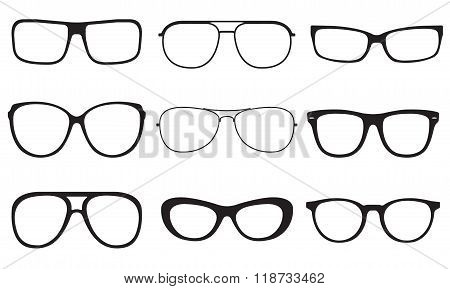 Glasses set. Sun glasses silhouettes isolated on white background. Vector illustration.