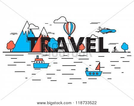 Creative illustration of different mode of transportation for Tour and Travel concept.