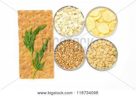 Breakfast Cereals: Bread, Oatmeal, Buckwheat, Lentils, Corn Flakes