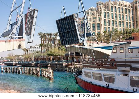 Eilat Israel - February 13 2016: The Bridge is open waiting for the ship in Eilat - a recreation city in Israel