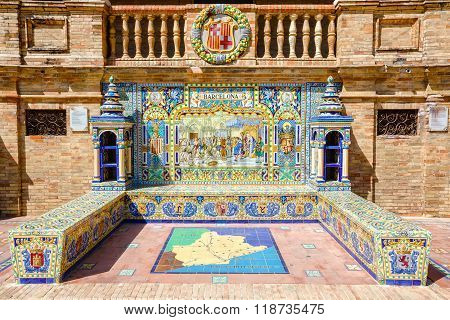 Ceramic bench with a historic depiction of Barcelona